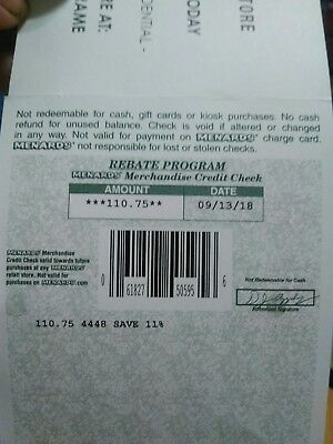 MENARDS CREDIT CHECK $110  75