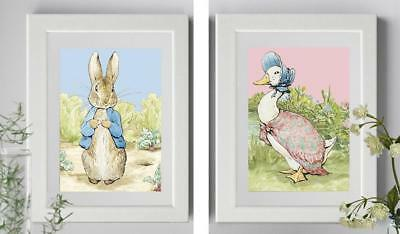 Beatrix Potter Peter Rabbit Jemima Puddle Duck Pink Blue Nursery Picture Print