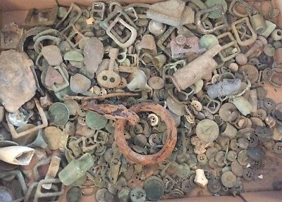 Large Lot Of English Countryside Metal Detector Finds Coins Buttons Tack Thimble