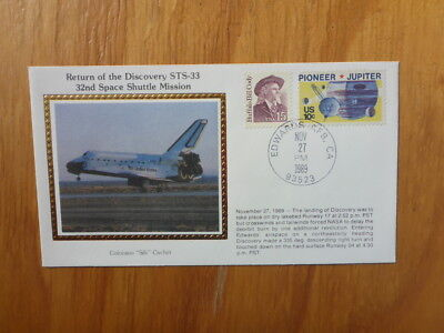 Vintage Usa Colorano Silk Illustrated Space Fdc - Discovery Sts-33 Landing
