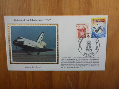 Vintage Usa Colorano Silk Illustrated Space Fdc- Challenger Sts-7 Landing