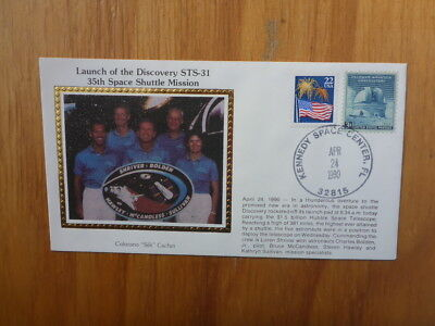 VINTAGE USA COLORANO SILK ILLUSTRATED SPACE FDC - DISCOVER STS-31 35th MISSION