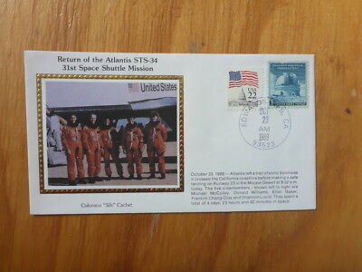 Vintage Usa Colorano Silk Illustrated Space Fdc - Atlantis Sts-34 Crew