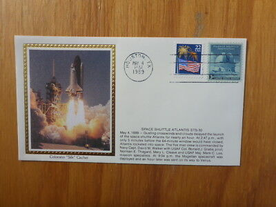 Vintage Usa Colorano Silk Illustrated Space Fdc - Atlantis Sts-30 Launch