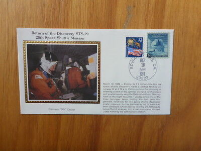 Vintage Usa Colorano Silk Illustrated Space Fdc - Discovery Sts-29 Mission Crew