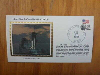 Vintage Usa Colorano Silk Illustrated Space Fdc- Columbia Sts-4 Lift-Off