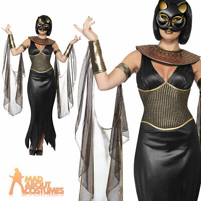 Womens Egyptian Costume Bastet Cat Goddess Ladies Halloween Cleopatra Outfit