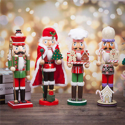 Christmas Wooden Nutcracker Walnut Soldiers Gift Home Decor Art Santa Ornament