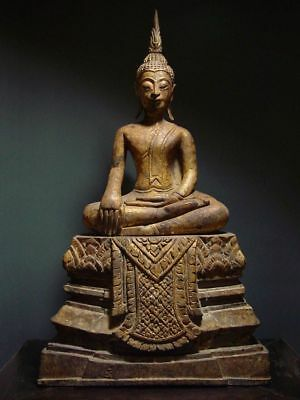 ANTIQUE TEAKWOOD ENTHRONED BUDDHA, AYUTTHAYA STYLE. TEMPLE RELIC 18/19th C.