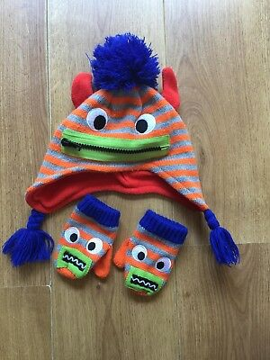 Preowned Baby Boy Winter Monster Bobble Hat by NEXT size 6 - 12 Month FREE P&P