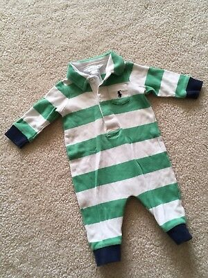 POLO. RALPH LAUREN Boys 3 Months Infant Baby Outfit Green White Blue Fall Stripe