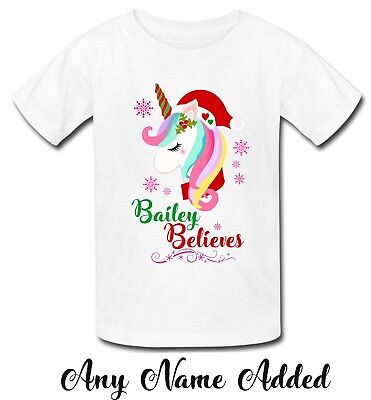 personalised unicorn santa believe christmas xmas name tshirt t shirt top girls