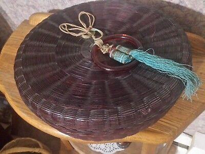 """Antique Chinese 12""""w Labeled Sewing Basket W/3"""" Translucent Ring, Dark Brown"""