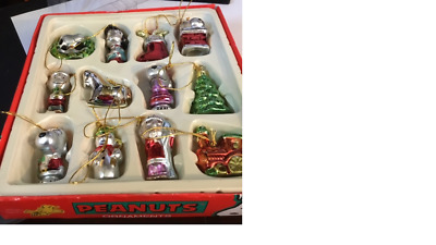 Set Of 12 Peanuts Ornaments By Kurt S. Adler - Peanuts Collection In Box
