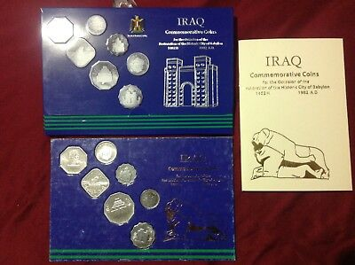 1982 Iraq Commemorative issue Restoration of Babel Series Coin set with Book.