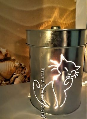 Cat tin punch lantern-dual sided. Exclusive design by Krazy-Fur-Kats