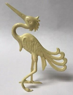 "Vtg Nosco/don Manning Art Deco Stylized Cream Crane Bird Figurine - 4.5"" Tall!"