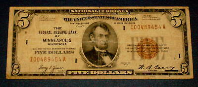 1929 MINNEAPOLIS MINNESOTA $5 Five Dollar NATIONAL CURRENCY Note
