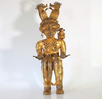 Original Two Foot Colombian Gold Copper Tumbaga Shaman Queen With Three Fish