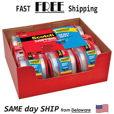 Scotch Heavy Duty Shipping Packaging Tapes 6 Rolls 3M Dispensers Clear Packing