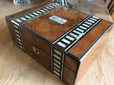 Antique Wooden Work Box ,mother Of Pearl, Lined ,lots Of Compartments