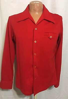 Rare Vintage D'Gala Florida Disco Mod Bright Red Polyester Shirt 70's LG( 40)