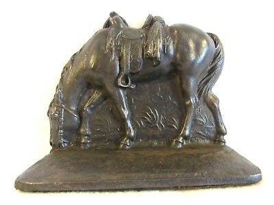 Pair of Cast Iron Saddled Horse Bookends, Signed