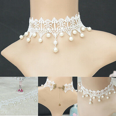 Women Gothic Pearl Velvet Chain Victorian White Lace Collar Choker Necklace