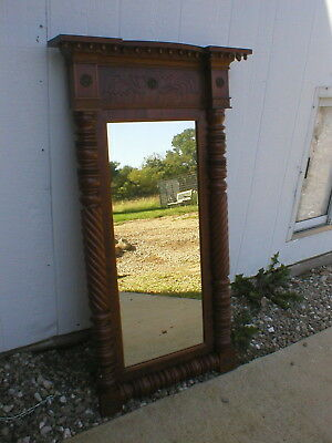 "VTG Arts and Craft Wood Mirror 44 1/2"" Tall x 25""  Wide Turned Sides Top Shelf"