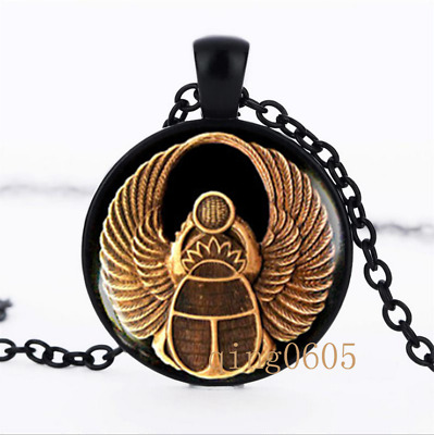 Scarab ancient egypt Egyptian Glass Dome black Chain Pendant Necklace wholesale