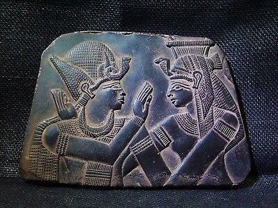 EGYPTIAN ANTIQUES ANTIQUITIES Ramses Embraced Isis Stela Relief 2700-2300-BC