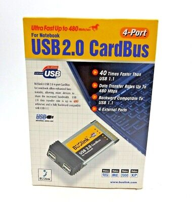 CardBus PCMCIA 4 Ports USB 2.0 HUB Adapter For Laptop Notebook US Stock NEW