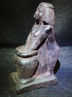 EGYPTIAN ARTIFACT ANTIQUITIES Woman Brewing Beer Statue Sculpture 2500-2350-BC