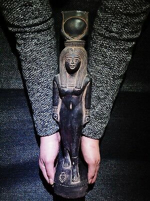 EGYPTIAN ARTIFACT ANTIQUITIES Hathor Sky Goddess of Love Statue 1570-1070-BC