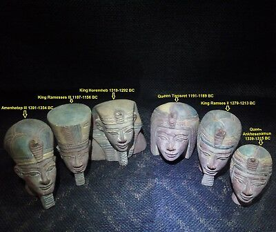 EGYPTIAN ARTIFACT ANTIQUITIES Pharaohs Kings and Queens Head - Sculpture