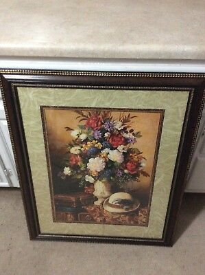 Home Interior / Homco Picture Beautifully Framed Vase Of Flowers,briefcase,hat
