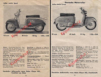 Adler Junior Sport Datenblatt - Adler Junior Luxus Datenblatt von 1955