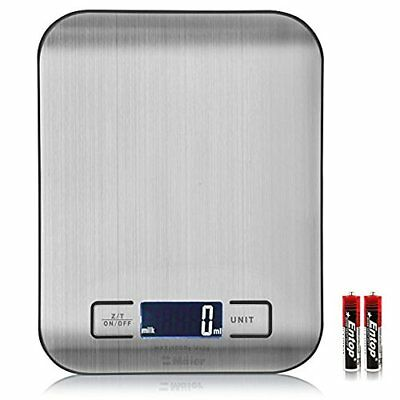 Electric Digital Kitchen Scale Balance Weighing Stainless Steel Back-Lit LCD 5kg