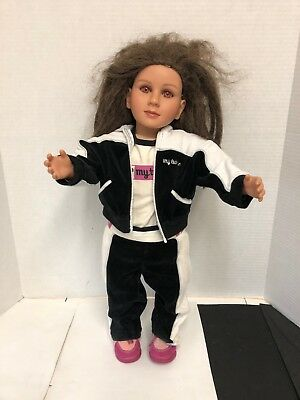 "My Twinn Doll 23"" Brown Hair pink Eyes Skin Tan with outfit and shoes"