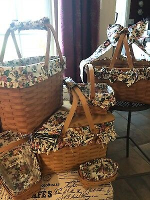 longaberger basket lot Of 6 Baskets With Garden Splendor Linings And Accessories
