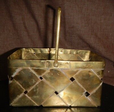 """Vintage Small Solid Brass Decorative Picnic Basket 7"""" x 4"""" GUC"""
