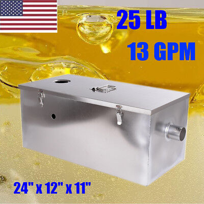 25LB 13GPM Commercial Grease Oil Trap Interceptor Stainless Steel Restaurant Use