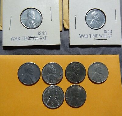 Lot of (8) 1943  P  Steel Lincoln Wheat Cents/Pennies Circulated Coins