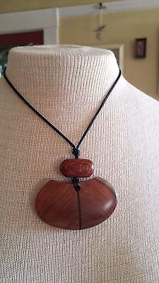 Vintage Necklace hand crafted inlaid wood on cord with sterling clasp MOD