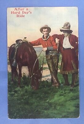 """Vintage Postcard OLD WEST, COWBOYS  """"AFTER A HARD DAY'S RIDE"""" A.H.C.Cowboys#1016"""