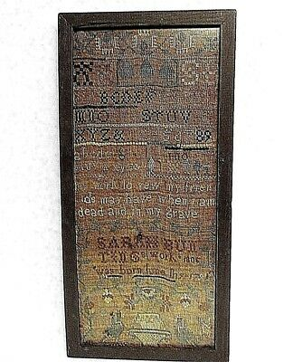 Antique American Sampler 1806 by Sarah Bun  Possibly New York