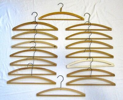 """16 Vintage Wood Hangers for Crochet and Crafting - 16½"""" wide"""