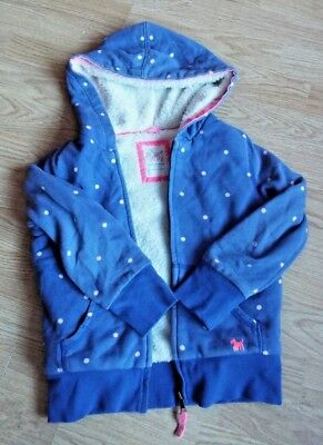 Mini Boden, Blue Spotty Hoodie, Fur Lined, Zip Front, Age 6-7