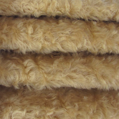 "1/4 yd 785S/C Vintage Tan INTERCAL 3/4"" Med. Dense Curly German Mohair Fabric"