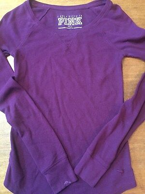 Victoria's Secret I LOVE TO SLEEP IN PINK Therma L/S Shirt * Maroon Size XS